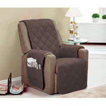 Protetor Para Sofa Poltrona 1 Pçs Cor Marrom Toda Com Vieis