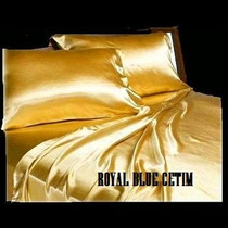 Jogo De Lencol Em Cetim Cor Dourado Tamanho Queen 1,58x1,98