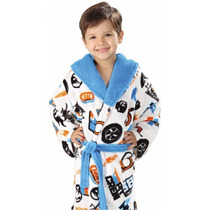 Roupão Infantil Fleece Quimono Estampado Hotwheels Lepper