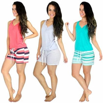 Kit 5 Pijamas Curto Adulto Feminino Blusa Regata E Short