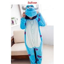 Pijama Adulto Macacão Sulivan Monstros Sa Com Capuz