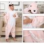 Pijama Macacão Infantil Dinossauro Rosa Animal Desenho Capuz