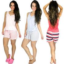 Pijamas Curto Adulto Feminino Blusa Regata E Short Doll