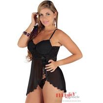 Camisola Nupcial Com Bojo Curta Preta Olivia Lingerie Sexy