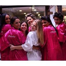 Robe Roupão Cetim Luxo 10 Unidades Personalizado Dia Noiva