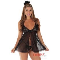 Camisolas Sensuais Josy Preta Bojo Feminino | Camisola Sexy