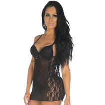 Camisolas Sensuais Tuane Preta + Calcinha | Camisola Sexy