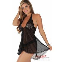 Camisolas Sensuais Bel Preta + Calcinha | Camisola Sexy