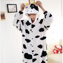 Pijama Adulto Macacão Plush Vaca Cow Com Capuz