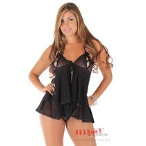 Camisolas Sensuais Leona Preta + Calcinha | Camisola Sexy