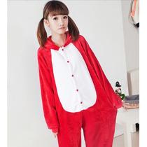 Pijama Adulto Inverno Macacão Animal Raposa Fox Capuz