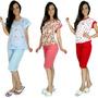 Pijama Pescador Adulto Feminino Blusinha E Calça Curta