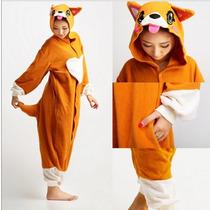 Pijama Adulto Macacão Plush Cachorro Animal Jake Finn Capuz