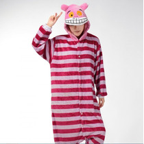 Pijama Adulto Inverno Macacão Cheshire Gato Alice Capuz