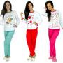 Kit 5 Pijamas Longo Adulto Feminino Blusa Comprida E Calça