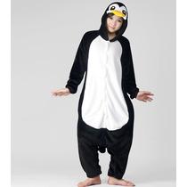 Pijama Adulto Inverno Macacão Animal Pinguim Capuz