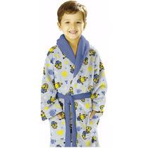 Roupão Infantil Fleece Quimono Minions Estampado Lepper