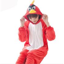 Pijama Adulto Macacão Plush Angry Bird Passaro Com Capuz