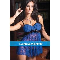 Camisola Sensual Curta Azul Safira   Lingerie Sexy +brinde