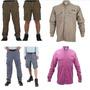 Kit Roupa De Pesca-calça Vira Bermuda+camisa Proteção Solar