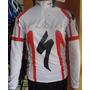 Camisa Ciclismo Mtb Manga Longa Specialized Branca/verme - P