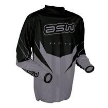 Camisa Motocross Asw Factory 13 - Tamanho G Preto Com Cinza