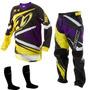 Kit Calça Camisa Infantil Insane Amarelo Roxo Motocross Tork