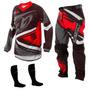 Kit Calça Camisa Infantil Insane 4 Vermelho Motocross Tork