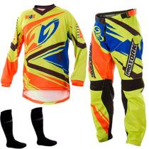 Conjunto Calça Camisa Insane 4 Amarelo Motocross Pro Tork