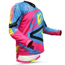 Camisa Pro Tork Insane 4 Azul Amarelo Rosa Motocross Trilha