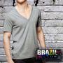 Camisetas Deep V- Gola Cavada 100% Algodão - Mesclada