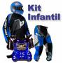 Kit Motocross Infantil Embalagem Para Presente Capacete
