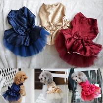 Roupa Cachorro Pequeno Porte Gato Festa Renda Vestido Saia