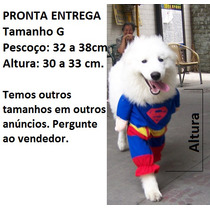 Roupa Fantasia Cachorro Gato Superman Tamanho G
