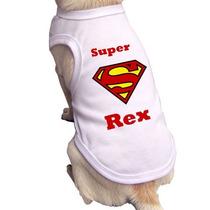 Roupa Para Cachorro-gato Personalizada Com Nome Superman Pet