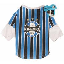 Roupinha Pet Camiseta Grêmio Oficial Licenciada Cães P/m/g