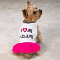 Roupa Para Cachorro-gato Femea Com Saia - I Love My Mommy