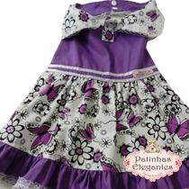 Roupas Pra Cachorro - Vestido Floral Roxo (pp) - Loja