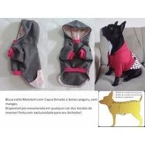 Blusa Com Capuz E Bolso Para Cachorro Porte Grande