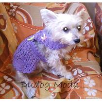 Vestido Em Crochê Roxo P/ Cachorrinhas - P - Frete Grátis!