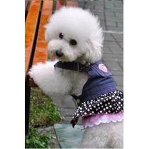 Roupinha Pet Cachorro - Jardineira/vestido Jeans - Verão