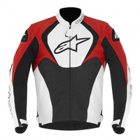 Jaqueta Moto Alpinestars Couro Jaws Pto Brco Vermelha - 48