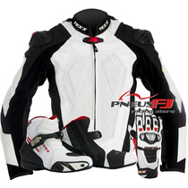 Jaqueta De Moto New Rock + Luva Couro Texx + Bota Texx Stark