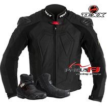 Jaqueta De Couro Moto Texx New Rock + Bota Sport Texx Stark