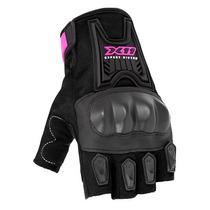 Luva Motoqueiro X11 Blackout Meio Dedo Feminina Com Proteção