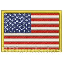 Bin055 Bandeira Estados Unidos Usa Eua 8x5,5cm Patch Bordado