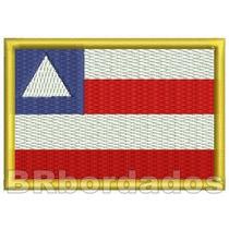 Bbr038 Bandeira Bahia Ba Tag P/ Colete Patch Bordado 8x5,5cm