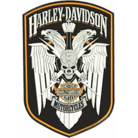 Patch Bordado Hd127 Harley Davidson Skull Motorcycles Aguia