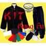 Conjunto Kung Fu Blusão Calça Faixa Sapatilha Combo