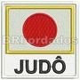 Bin039 Judo Bandeira Japão Patch Bordado Arte Marcial Tag